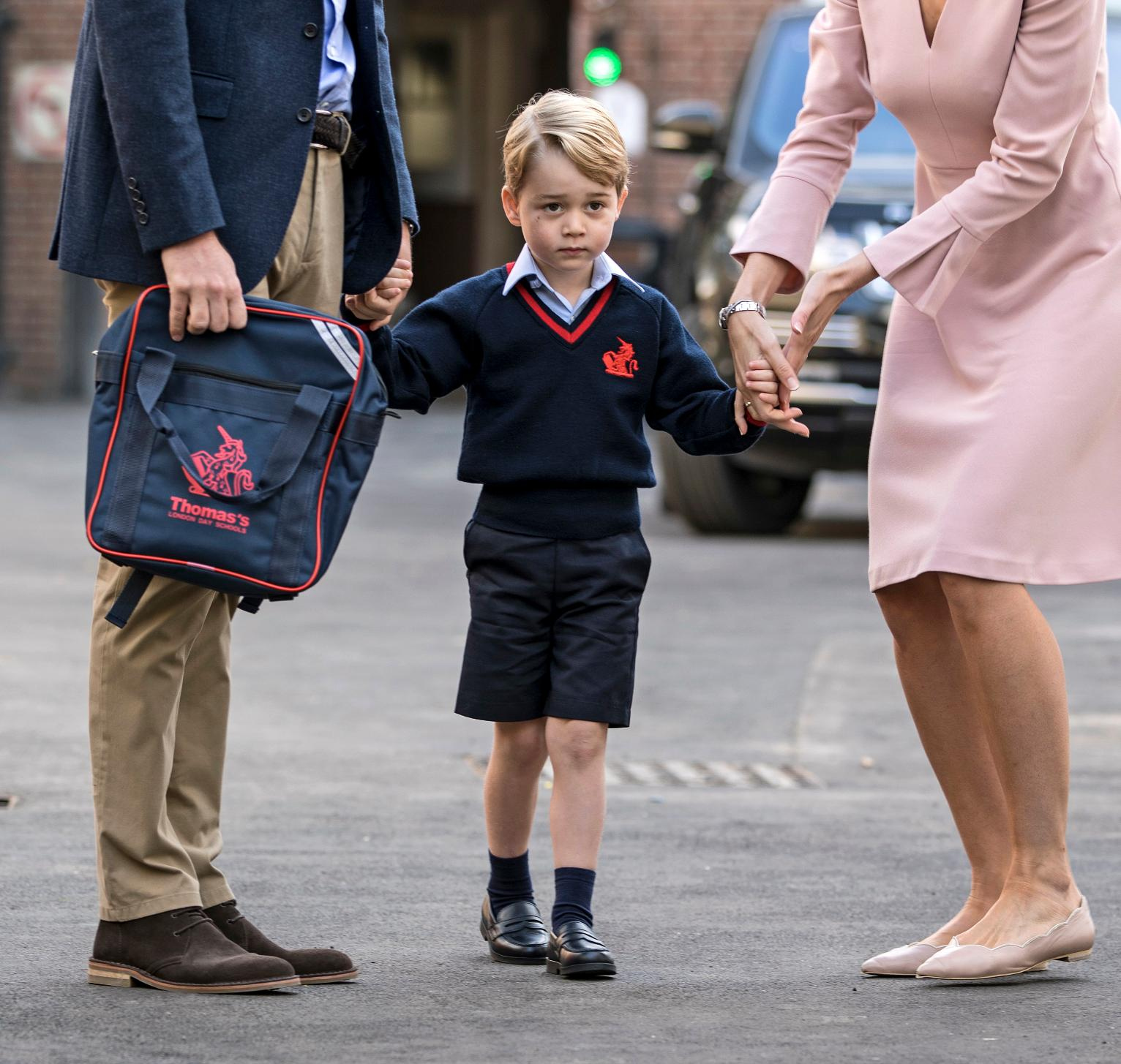 georges first day in school Duke of cambridge says prince george's first day at school went 'well' and jokes he was lucky to avoid school do you have a story for the sun online news.