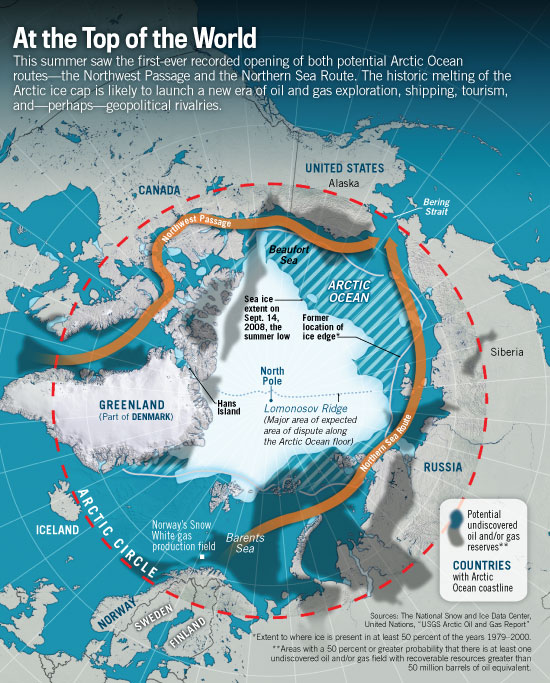 Global Warming Triggers An International Race For The Arctic - Arctic ocean on us map