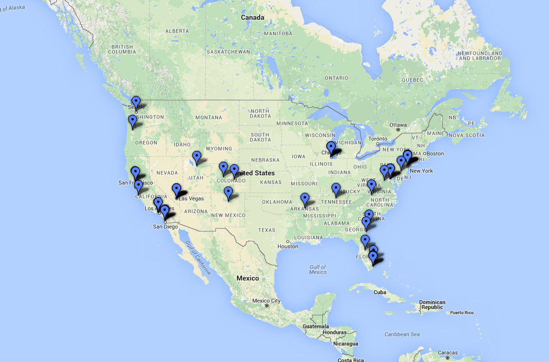 Map the 50 best hotels in the usa travel us news for Best hotel in america