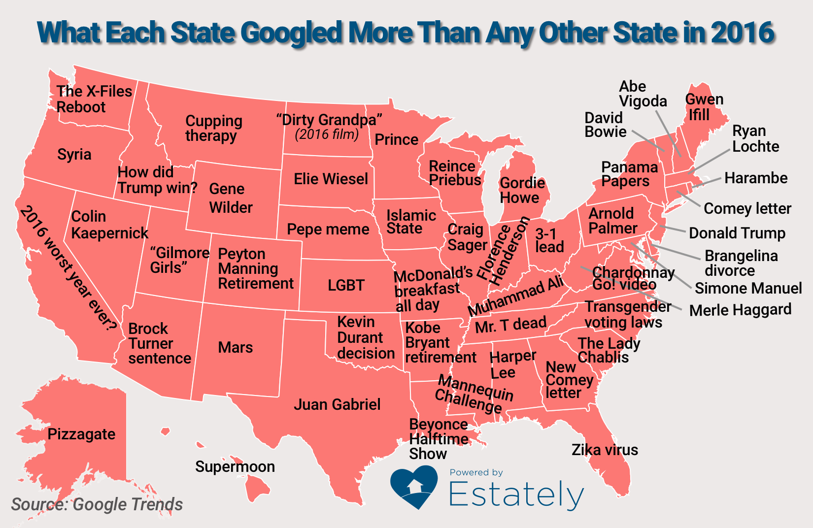 What Each State Googled More Than Any Other In US News - Map of memes across the us