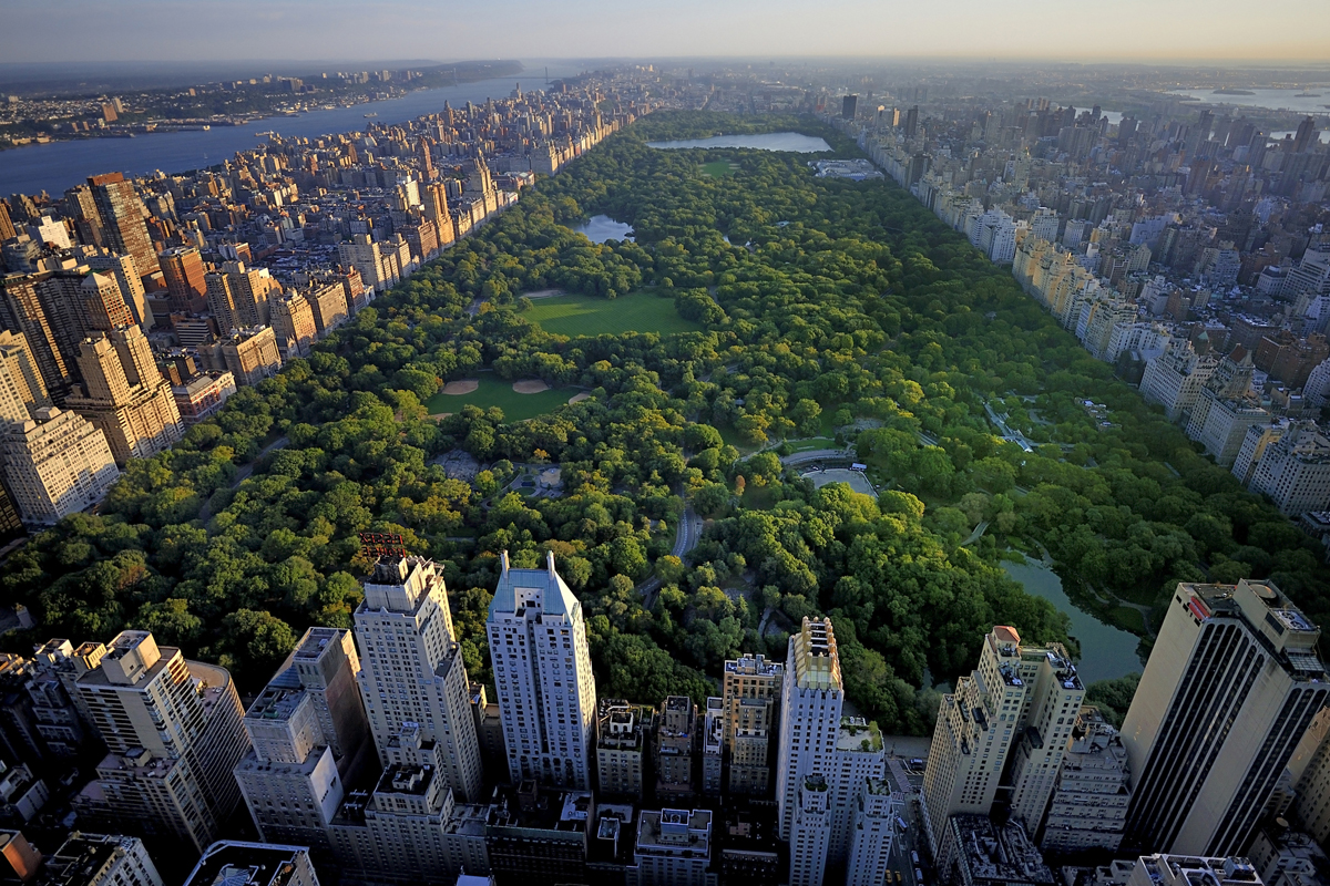 Aerial view of Central Park, Manhattan, New York.
