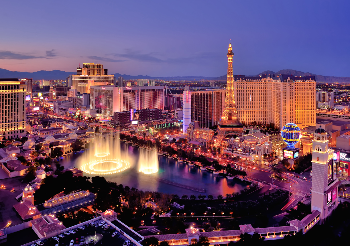 USA, Nevada, Las Vegas, Elevated view of illuminated cityscape with Fountains of Bellagio