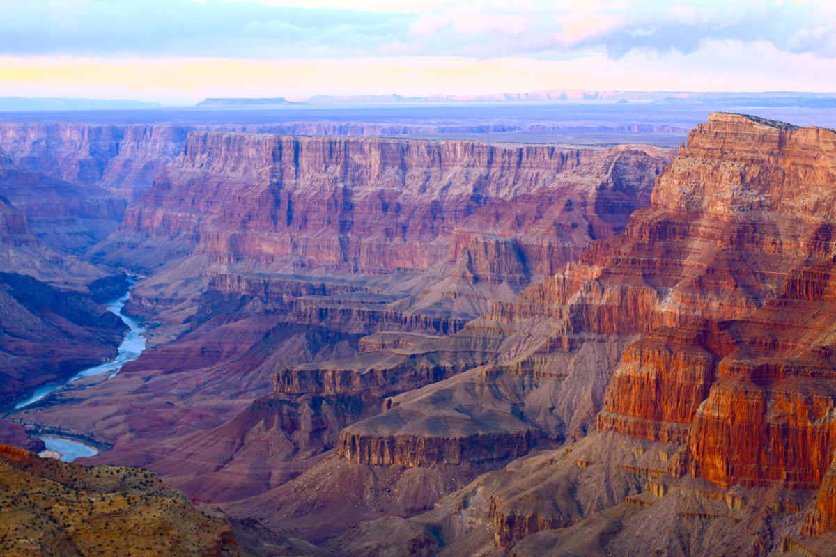 The Grand Canyon at sunset in winter.